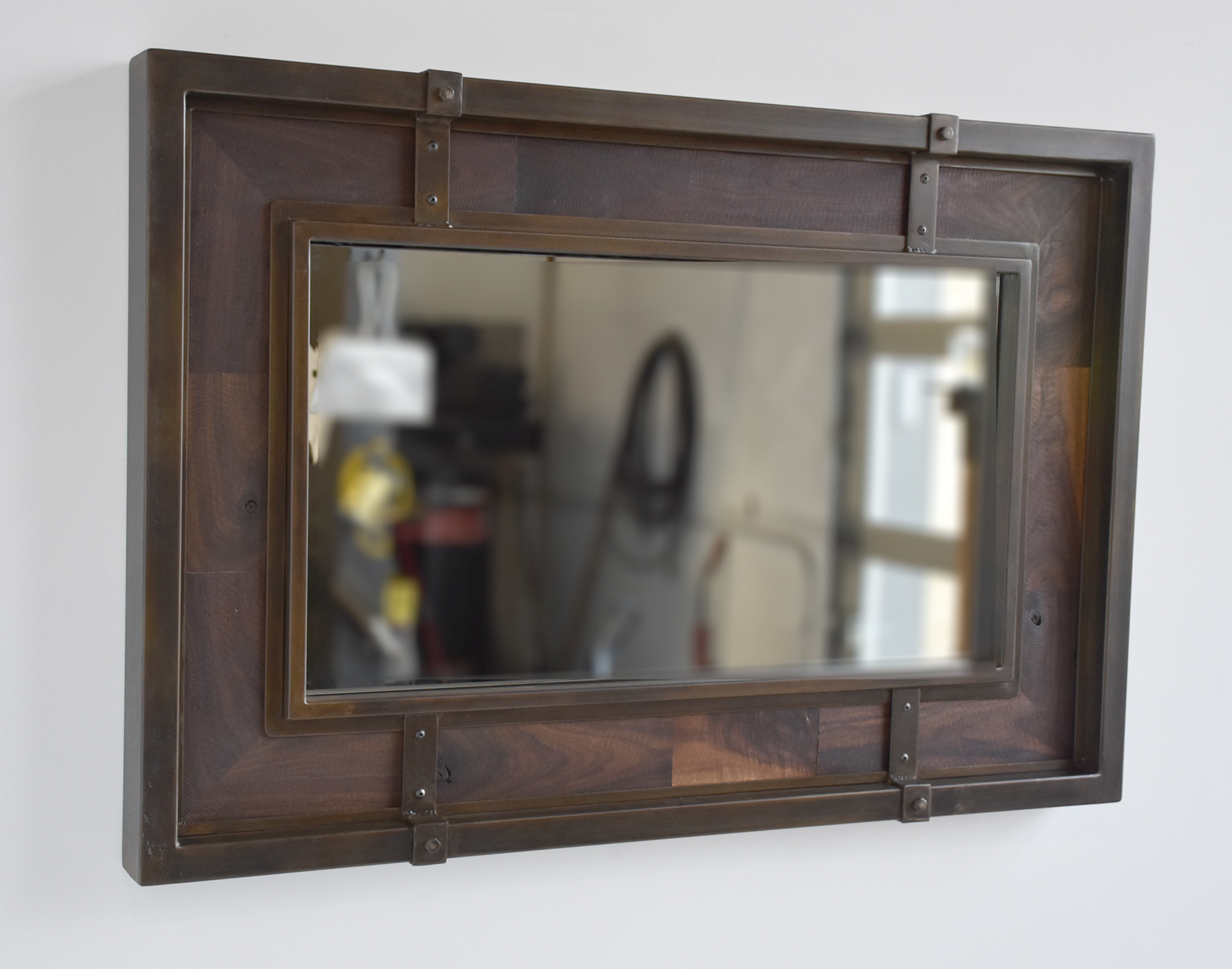 Nollette metal works rustic wood and oxidized metal mirror for Rustic mirror