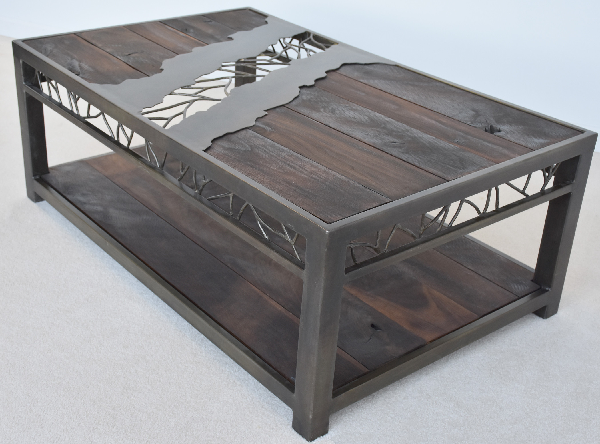 Nollette Metal Works Rustic Walnut And Oxidized Metal Coffee Table